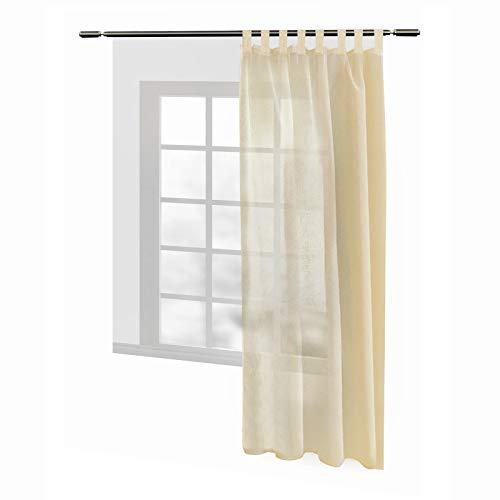 WOLTU® VH5863sd, Gardinen transparent mit Schlaufen Leinen Landhaus Optik, Schlaufenschal Vorhang Stores Voile Fensterschal für Wohnzimmer Kinderzimmer Schlafzimmer, 140x245 cm, Sand, (1 Stück)