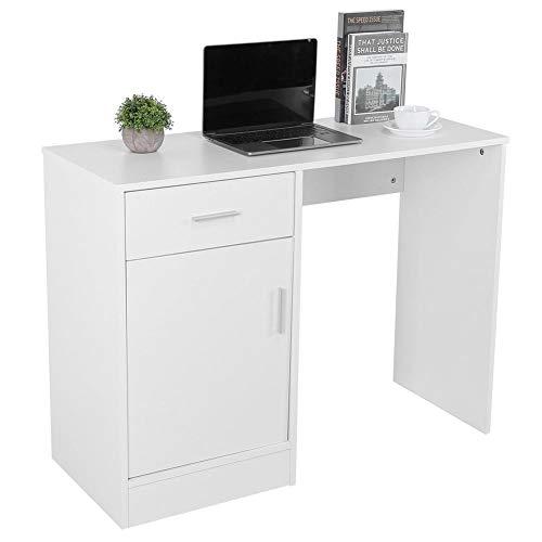 GOTOTOP - Escritorio de ordenador, mesa de escritorio con 1 puerta, 1 estante de almacenamiento, escritorio para la oficina y la casa, 100 x 40 x 76 cm, color blanco