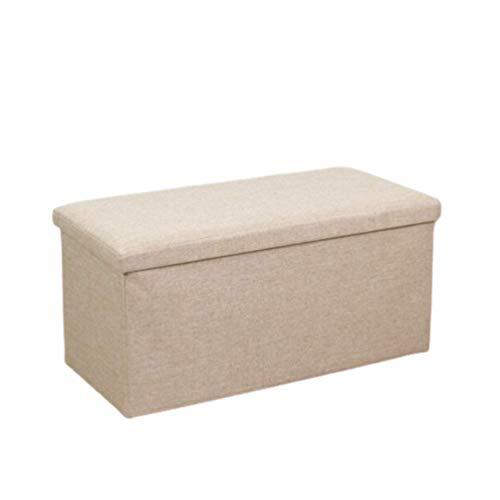 Ducomi - Puf plegable cubo reposapiés contenedor de mezcla de lino, baúl para juguetes, sillón contenedor para salón, decoración italiana (beige, 48 x 31 x 31 cm)