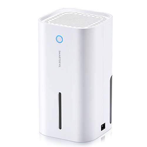 SmartDevil Dehumidifier, 850ml (28 oz) Auto-Off Small Dehumidifier for 215 sq ft, Compact and Portable Mini Dehumidifier for Basement, Bathroom, Garage, Wardrobe, RV and Room (White)