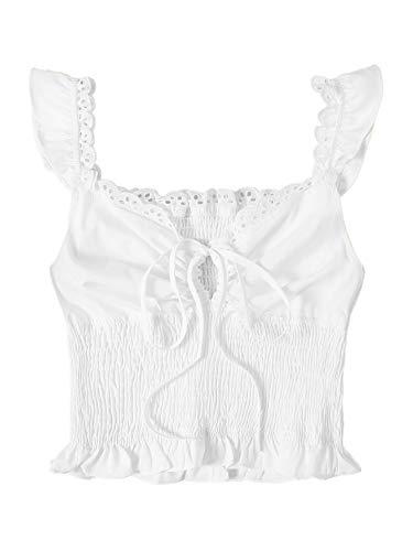 SheIn Women's Summer Sleeveless Ruffle Strap Tie Neck Cute Cami Tank Top Small White Blouse