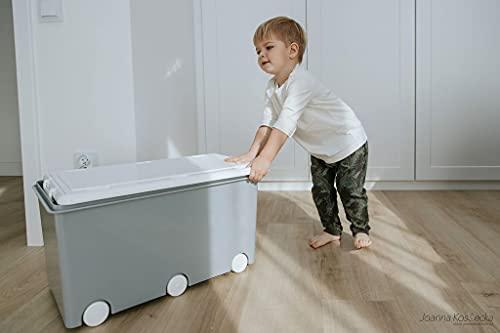 LAPSI® Spielzeugkiste, Aufbewahrungsbox mit 6 Rollen mit Deckel auf Rädern Grau Eule - 2