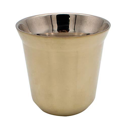 Dianoo Kaffeetasse Espressotassen Aus Edelstahl Doppelwandig Thermisch Isoliert Kapsel Kaffeebecher Helles Gold