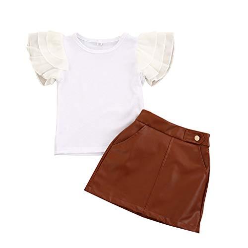 sunnymi 1-6 Jahre Kleinkind Kinder Baby Mädchen Solid Ruffle T-Shirt Tops + Lederröcke Kleidung Set