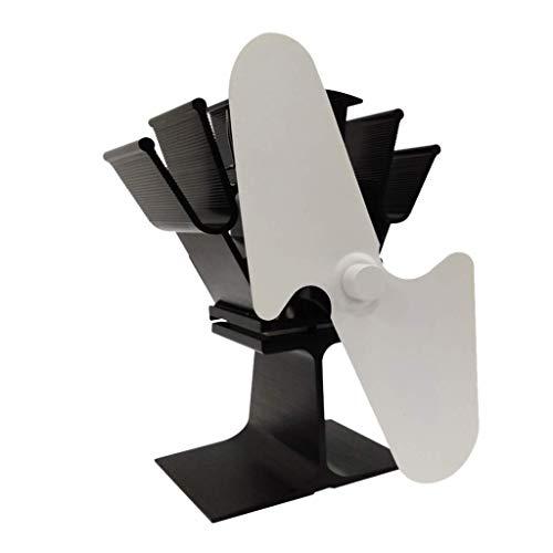 Kachelventilator stille rookafvoer met 2 vleugels, tafelventilator, kachel voor houten haard, wit