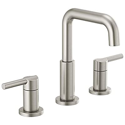Delta Faucet Nicoli Widespread Bathroom Faucet Brushed Nickel, Bathroom Faucet 3 Hole, Bathroom Sink Faucet, Drain Assembly, Stainless 35849LF-SS