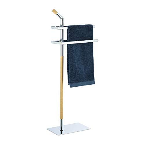 Relaxdays, Chrom/Natur Handtuchhalter zweiarmig, Handtuchständer mit Griff, freistehend, Stahl & Holz, HBT: 103x38x21 cm
