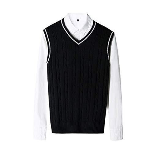 Solid V Neck Sweater Pullover Knitted Slim Vest Mens Sleeveless Sweaters Men,Black,XXL
