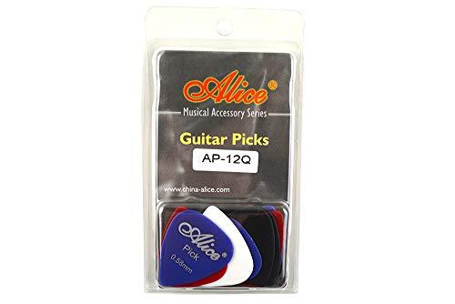 Alice アリス AP-12枚 ABS、ナイロン、セルロイド ギター ピック プレクトラム パック厚さ色混合 透明な包み (AP-12Q)