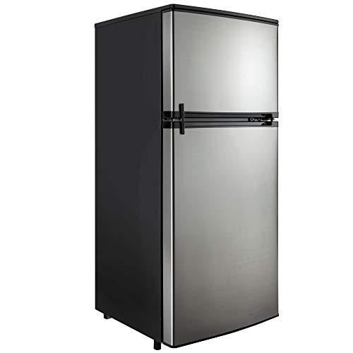 RecPro RV Refrigerator Stainless Steel | 4.3 Cubic Feet | 12V | 2 Door Fridge