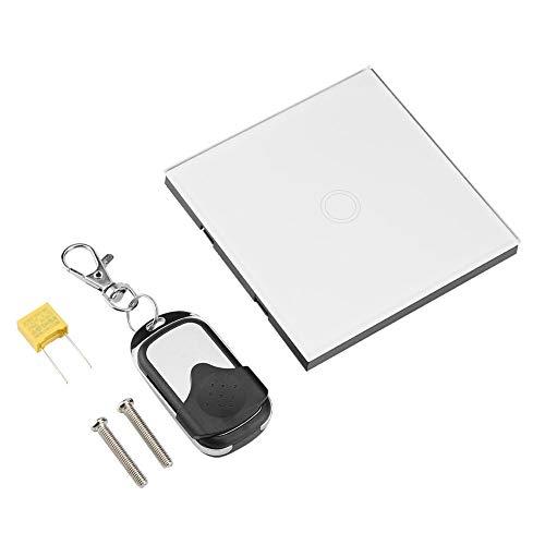 Interruptor de luz, Interruptor táctil de Pared Inteligente, Soporte de Interruptor de Panel de Vidrio Templado inalámbrico Inteligente inalámbrico de 1 vía(White)