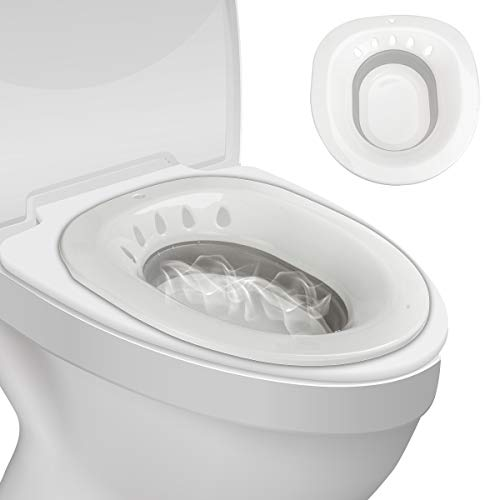 Tovee Foldable Sitz Bath for Toilet,Seat Sitz Bath Basin for Postpartum Wounds,Pregnant Women,Hemorrhoids,Perineal Care,Episiotomy Recovery,Elderly&Patients,Fits Universal Toilets and Commode Chair