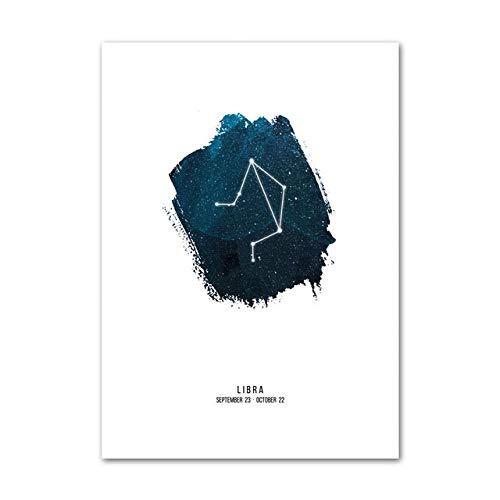 LovelyHomeWJ Libra Wall Art Print HD Posters Astrología Constelación Estrella Inicio Lienzo Modular Estilo de Pintura Nórdica Decoración de Cuarto de niños Fotos 60x80 cm
