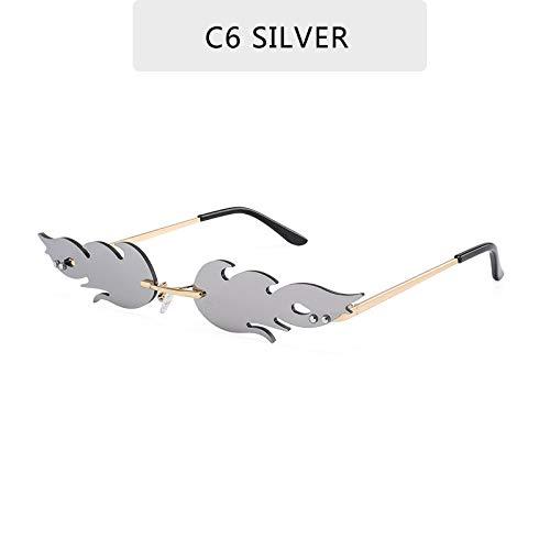 Gafas De Sol,La Plata Llama De Fuego Sin Reborde Gafas De Onda Cuadrada De Conducción Diseño Clásico De Moda Gafas De Sol Para Hombres Deportes Ciclismo De Montaña Unidad Uv400 Luz Polarizada Gogg