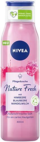 NIVEA Nature Fresh Pflegedusche Himbeere (300 ml), sanft reinigendes Duschgel mit einer Formel ohne Mikroplastik, vegane Duschpflege mit fruchtigem Duft