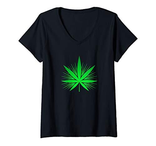 Damen Cannabis Tee Kanabis Marihuana Reggae Hanfblatt THC T Shirt T-Shirt mit V-Ausschnitt