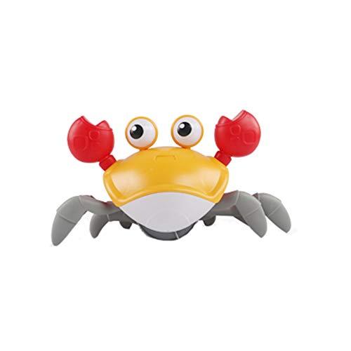 QJJ Juguetes de baño de cangrejo para niños y niñas de 3 a 6 años, lindos juguetes de cangrejo de empuje de cangrejos, flotantes de natación, relojes de playa juguetes de bañera (color: amarillo)
