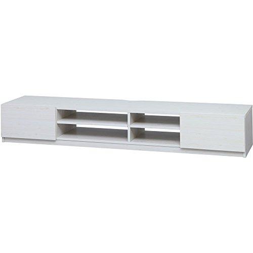 AVボード 幅180×奥行41.5×高さ31.5cm ホワイト キャスター付き 97428