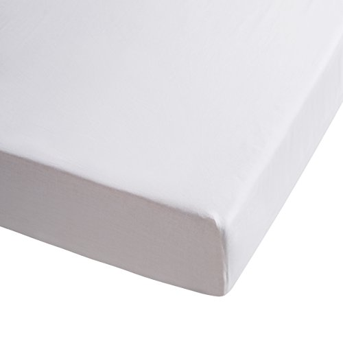 Sancarlos - Sábana bajera , 100% Algodón percal, Color blanco, Cama de 135