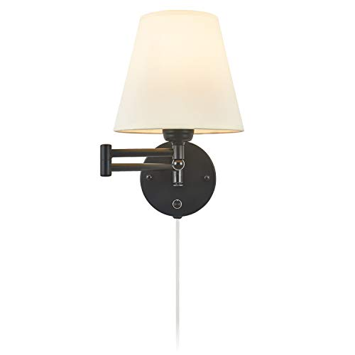 Swing Arm Wall Lamp 7.1' Shade Width Plug in Wall Mount Opaque Ivory Linen Shade 40W 2-Way Cord Covers(1 Light)
