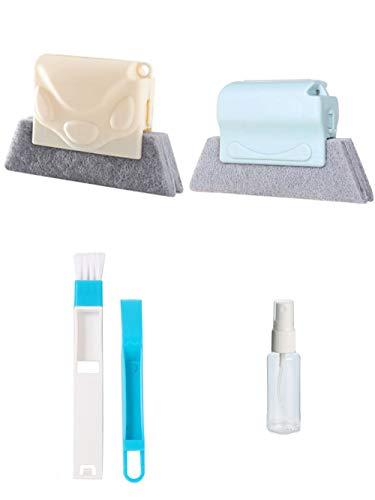 Juego de 4 cepillos de limpieza para esquinas y grietas de esquina multiusos con cabezal de cepillo de limpieza con botella de spray