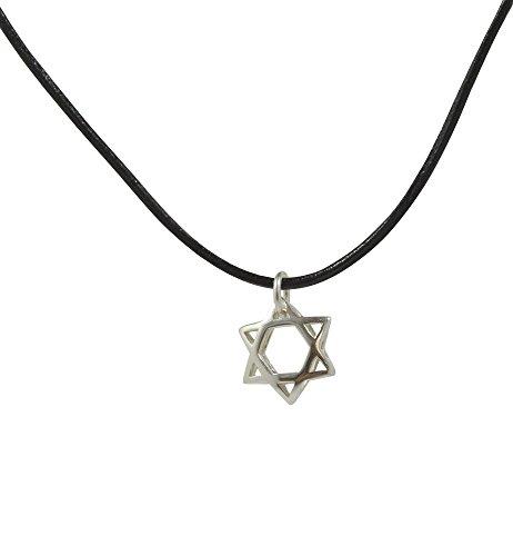 MIZZE Made for Luck Jewellery Colgante de plata de ley con estrella judía de David en cuero negro