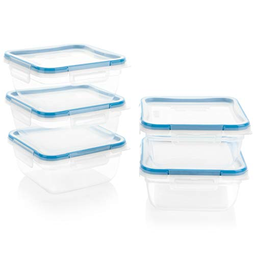Snapware Total Solution Square Plastic Meal Prep Food Storage Set (10-Piece, BPA Free, Meal Prep, Leak-Proof, Microwave, Freezer and Dishwasher Safe)