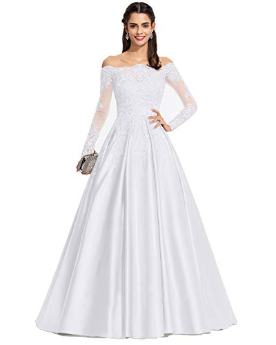 Miao Duo Off Shoulder Long Sleeves Lace Bridal Wedding Dresses Plus Size Bride White 18Plus
