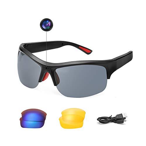 SKYWAY Video Camera Smart Glasses Polarized UV400 Lenses 1080P Hidden Sport Sunglasses (Black)