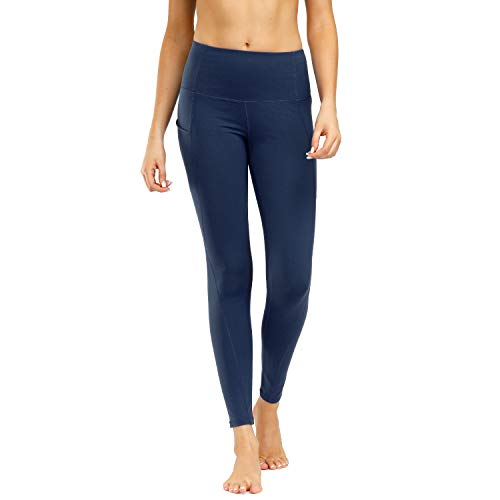 WateLves Damen Sport Leggings Lange Leggings Yoga Jogginghose Fitness Hose Laufhose Training Strumpfhosen Gürtel Handytasche(jcjf.Marine,M