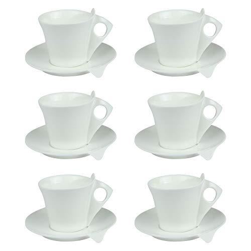 TABLE PASSION - COFFRET 6 TASSES / SOUS TASSES CAFE 10 LIBRA PORCELAINE BLANCHE