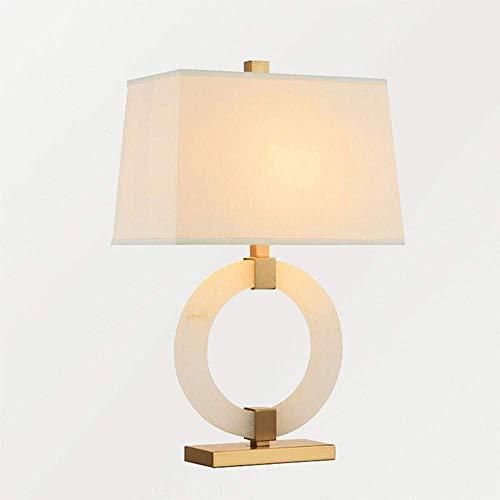 LLLQQQ Lámpara de mesa de mármol estilo creativo anillo minimalista dormitorio lámpara de mesita de noche modelo artística lámpara decorativa anchura 40 cm x alto 62 cm