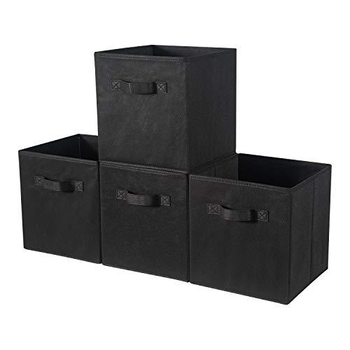 BrilliantJo Cubos de Almacenaje, Cajas Plegables de Tela con Doble Mango, para Casa, Oficina, Negro, 4 pcs, 33 x 38 x 33cm