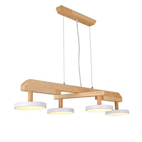 Lámpara LED de techo / araña colgante, lámpara de techo LED, salón, decoración, mesa de comedor, oficina, cafetería, restaurante nórdico, hierro sencillo, madera, nivel de energía [A ++] (color: A)