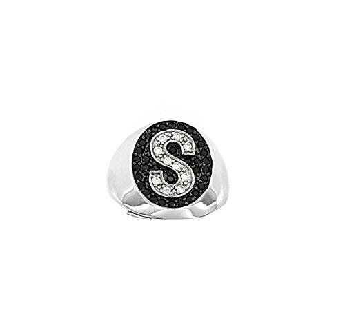 anello donna 10 Anello con iniziale in Argento 925 rodiato con zirconi Bianchi e Neri regolabile da 10 ITA (Lettera S)