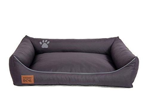 Golden Dog Hundebett Hundesofa Hundekissen Abnehmbarer Bezug Pflegeleicht abwaschbar Dunkelgrau M 80x65cm