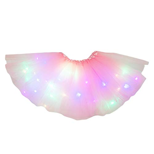 HANBOLI Vestido de Baile de Fiesta Luminoso Colorido neón con Falda tutú con luz LED para niñas pequeñas
