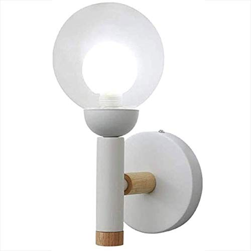 Rindasr rubberen wandlamp voor houten kamer, 360 graden draaibare hoek, lampenkap van glas, rond, leeslamp, voor bevestiging aan de muur van de kamer en de kinderstudie