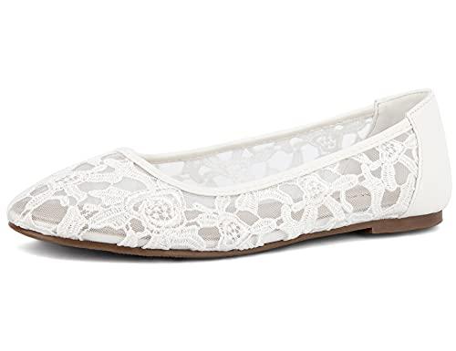 Greatonu Damen Geschlossene Ballerinas Brautschuhe Spitze Flache Schuhe Weiß Größe EU 39