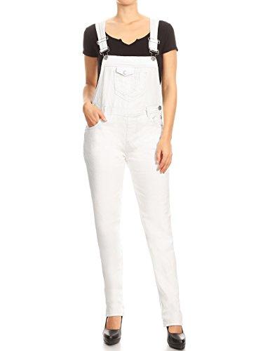 ANNA-KACI Frauen-Denim Blue Jeans Gerades Bein Taschen Latzhose, Weiß, L/XL