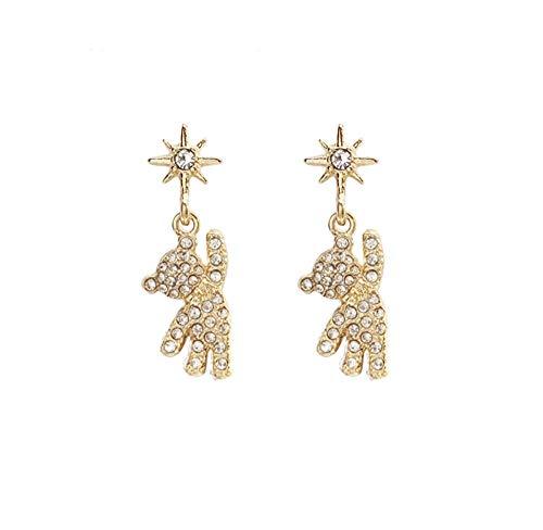 Cute Delicate Sun Bear Rhinestone Drop Earrings Korean Funny Animal Pendent Earrings for Women Girls Ear Jewelry Gift 2pcs