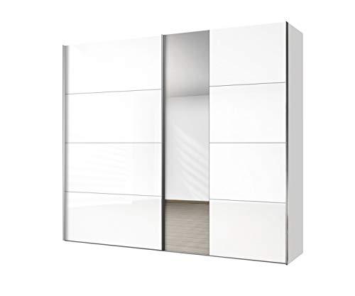 Express Möbel Madrid Schwebetürenschrank, Spanplatte, Weißglas/Spiegel, B 250 / H 216 / T 68