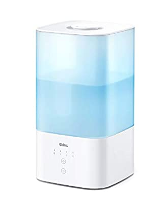 Humidifiers Top Fill Odec 2.5L Cool Mist Humidifier with 7-Color LED Night Lights, Essential Oil Diffuser for Bedroom Nursery, Touch Control, Adjustable Mist, Sleep Mode, Auto Shut-Off, Easy to Clean
