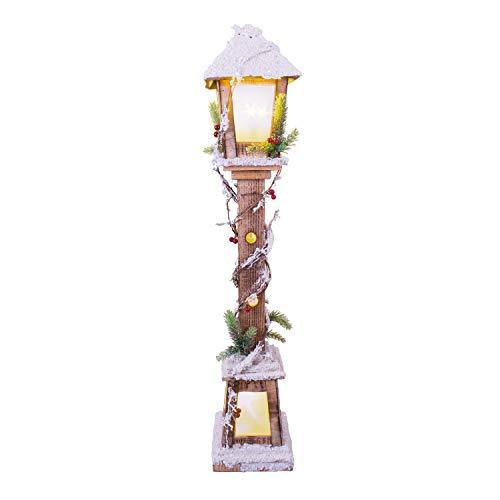 The Christmas Workshop Snow Lampost Ornamento, LED Bianco Caldo, Larghezza 85cm di Altezza x profondità 16cm