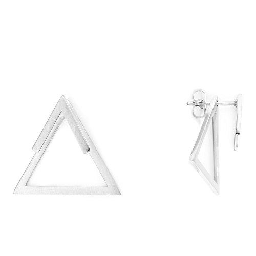 Heideman Ohrringe Damen Dreieck Triangel aus Edelstahl silber farbend matt eckige Ohrstecker für Frauen 2 in 1 Ohrschmuck Doppelohrringe Doppel vorne und hinten