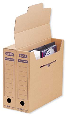 ELBA tric system Archiv-Box, mit Verschlusslasche, Archivaufdruck und Griffloch, naturbraun, 12er Pack