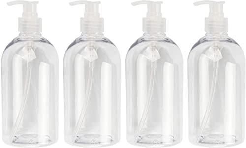 Nealan Botella vacía dispensador de jabón 500 ml, 4 unidades, champú, loción jabonera, botella dispensadora (transparente, 500 ml)