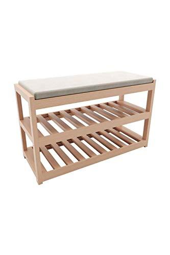 Zapatero de madera de 2 estantes con asiento zapatero de madera maciza con cojín portátil acolchado de madera - Turquía