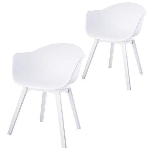 Damiware Romeo Gartenstuhl/Balkonstuhl aus Kunststoff (Polypropylen) in Weiß | 2er Set Gartenstühle | Moderne Essstühle/Sessel für den Garten