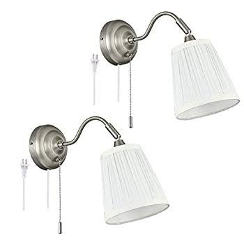 Plug in Swing Arm Wall Sconce Set of 2 ,YILYNN Wall Light with Switch and Fabric Shade Bedside Wall lamp with Matte Nickel Finish ,Suitable for Bedroom Bedside Living Room Bathroom Study Foyer